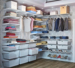 Система хранения вещей для гардеробной комнаты в цвете платина