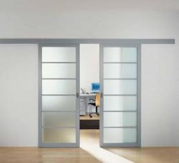 Подвесная раздвижная дверь со стеклом