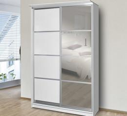 Белый шкаф купе с зеркалом двухдверный