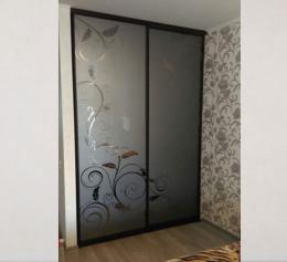 Шкаф купе с рисунком на стекле двухдверный