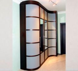 Радиусный шкаф купе с зеркалом двухдверный