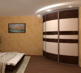 Радиусный шкаф купе угловой радиальный до потолка