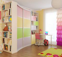 Шкаф купе в детскую комнату пастельный