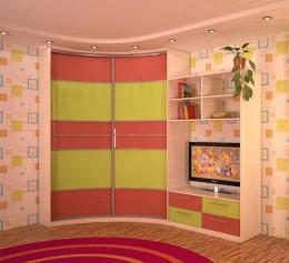 Шкаф купе в детскую комнату с телевизором
