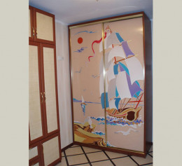 Шкаф купе в детскую комнату с витражом двухдверный