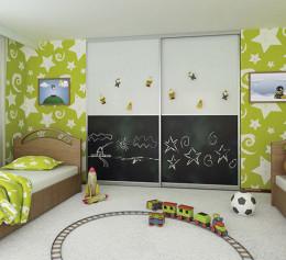Шкаф купе в детскую комнату сером цвете