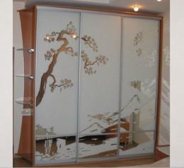 Шкаф купе в детскую комнату в цвете орех