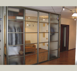 Шкаф купе в гостиную с матовым стеклом