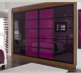 Шкаф купе в гостиную с цветным стеклом