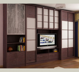 Угловой шкаф купе в гостиную с телевизором в цвете орех