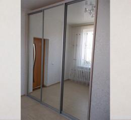 Зеркальный шкаф купе в гостиную светлый