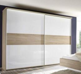 Шкаф купе белый глянец с зеркалом