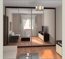Шкаф купе в гостиную с зеркалом