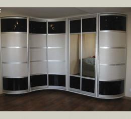 Зеркальные радиусные шкафы купе
