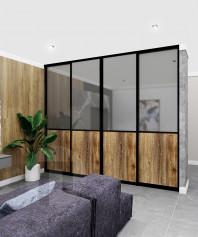 Встроенный шкаф в комнату на всю стену