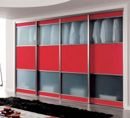 Шкаф купе красного цвета