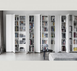 Шкаф для книг белый глянец