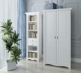Книжный шкаф белый узкий
