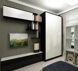 Большая стенка для гостиной со шкафом