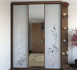 Шкаф купе с зеркалом с пескоструйным рисунком